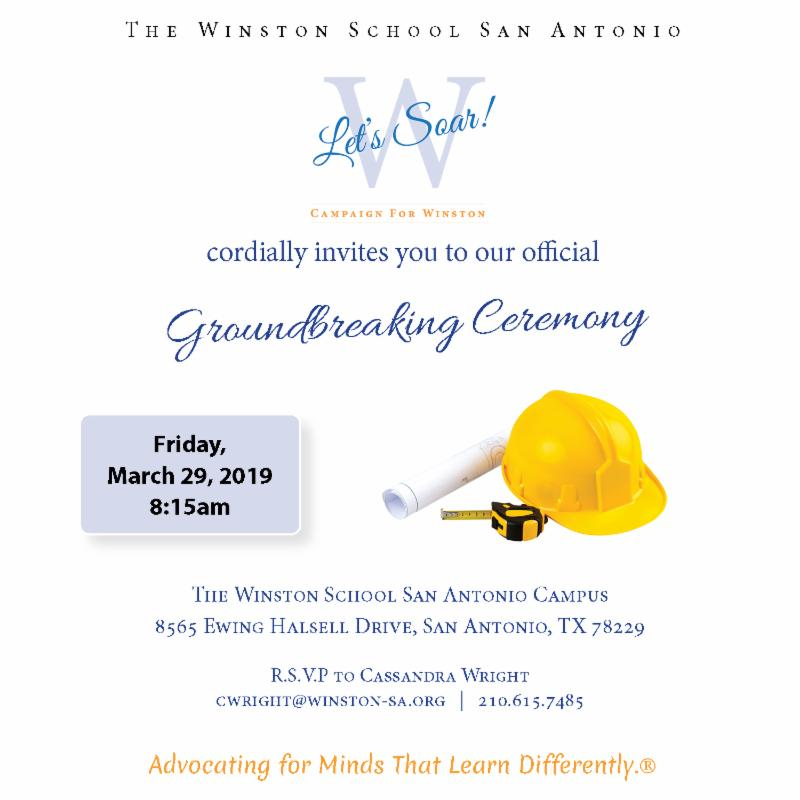 Flyer for the Groundbreaking at The Winston School on March 29, 2019