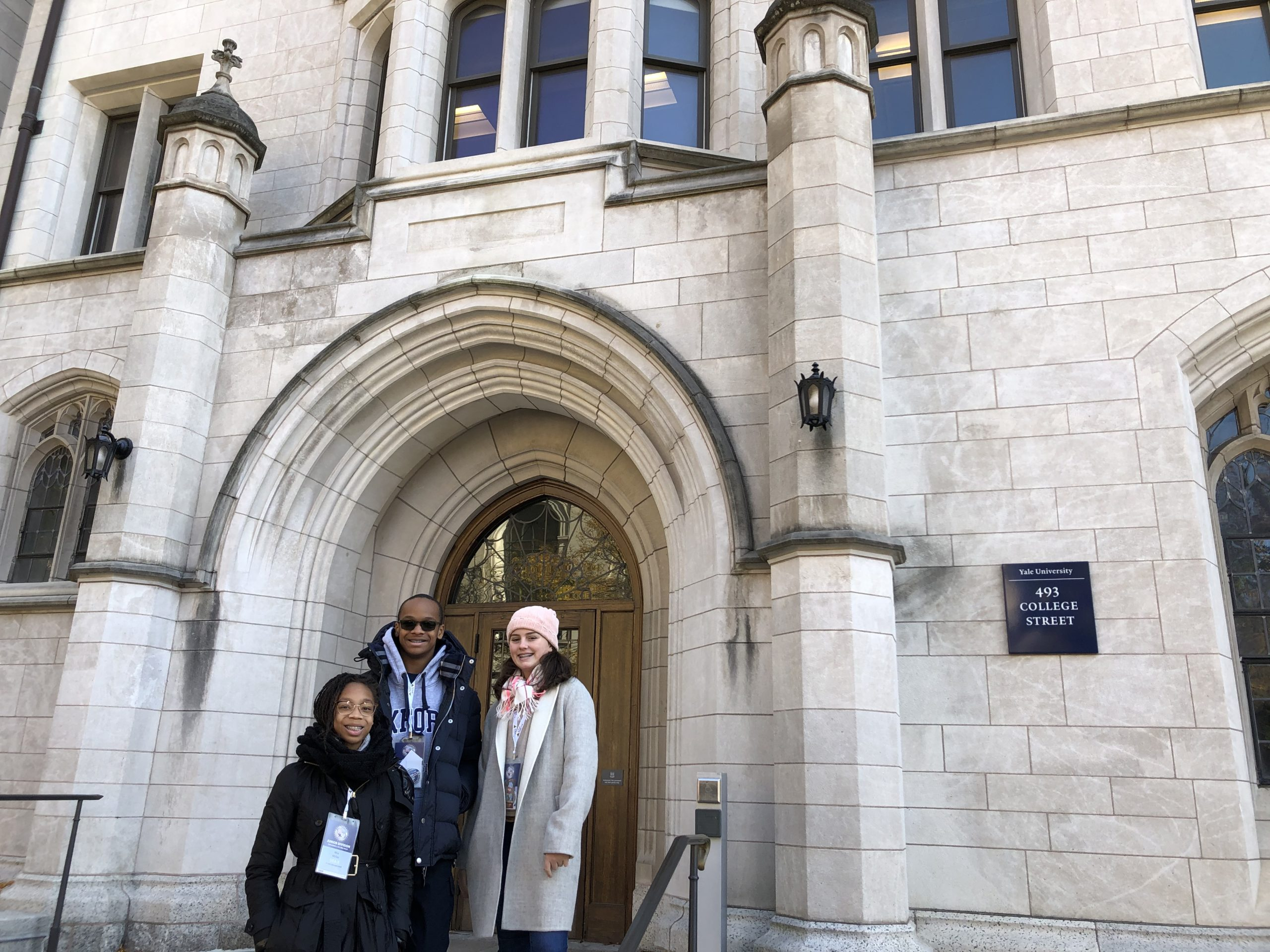 Eighth Grade students Mia Miller, Irene Sheerin, and Marcus Miller at Yale University